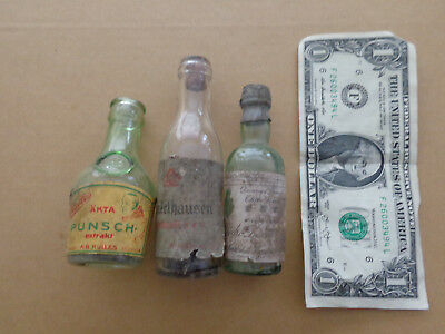 3 - 1930's - 1/10 Pint - Miniature Bottles - SWEDEN - GERMANY - SPAIN