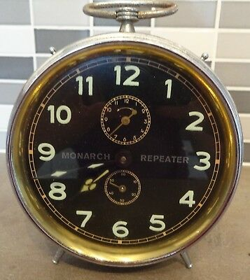 Vintage Monarch Repeater Chrome Metal Alarm Clock