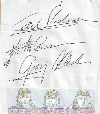 Emerson Lake And Palmer -In Person Genuine Hand Signed Piece Of Paper