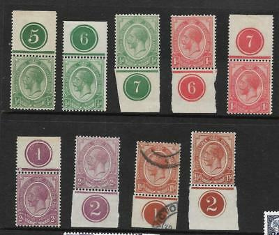 SOUTH AFRICA, KGV, 1913 DEFINS, 1/2d -2d PLATE SINGLES, 4 MNH, 1 USED, 4 M/MINT