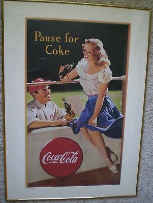 Pause For Coke Coca Cola Sign Framed Poster 28 X 20 Vintage Style