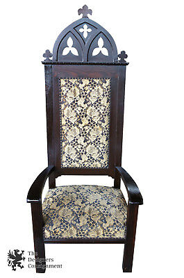 Antique Gothic Throne Chair Quartersawn Oak Carved Mission Arts & Crafts Brocade
