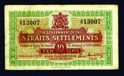 Straits Settlements 10 Cents 1919 P-8b TDLR Ch.Fine Payable in Singapore