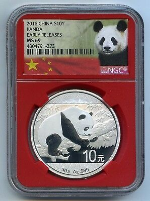 2016 China 1 oz .999 Silver Panda Coin NGC MS69 Early Releases 10 Yuan