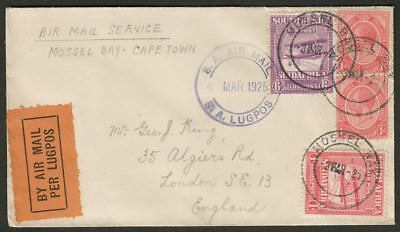 South Africa 1925 KGV Air 6d 1d 1d x2 First Flight Cover Mossel Bay to Cape Town