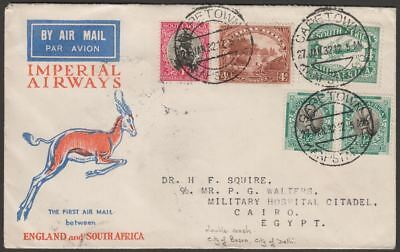 South Africa 1932 KGV Multi Stamp First Airmail Cape Town to Cairo Crash Cover