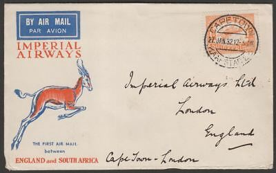 South Africa 1932 KGV Air 1sh Used on First Airmail Cape Town to London Cover