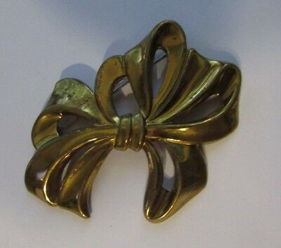 Large Vintage 1940's Brass Colored Bow Pin