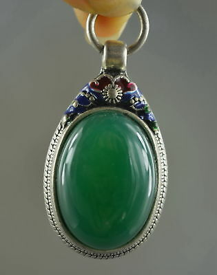 Collectable Handwork Old Miao Silver Carve Auspicious Flower Inlay Agate Pendant