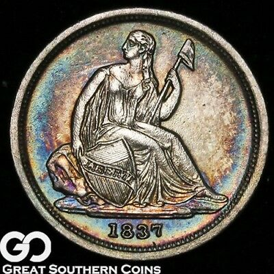 1837 Seated Liberty Dime, Outstanding Rainbow Color, BU++ Better Date, NICE!