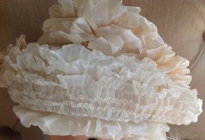 Antique French Silk Ribbon Rosettes Victorian Baby Bonnet Doll Child Girl Hat