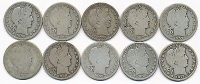 Lot Of Ten Different Barber Silver Half Dollars 1906 To 1912