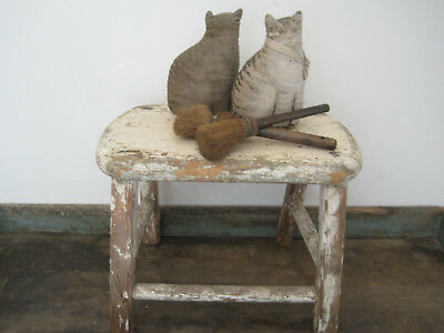 Old Vintage Primitive Cream Painted Small Wood  Stool American Country Farm Find