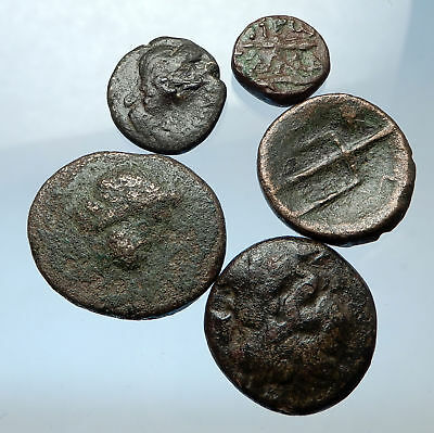 AUTHENTIC Ancient 400BC-250AD GREEK - 5 COINS Group Lot KIT Collection i68905