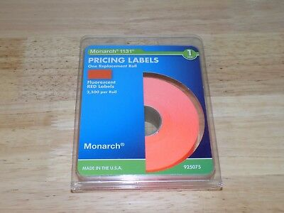 Monarch 925075 Pricing Labels 1131 Fluorescent Red 2500 Per Roll 1 Line