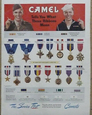 U.S. Army Navy Marines Medals Ribbons Ad WWII Print Ad Camel Cigarettes