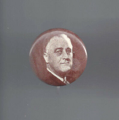1936 era FDR ROOSEVELT BROWN-TONE PICTURE CAMPAIGN BUTTON - MD