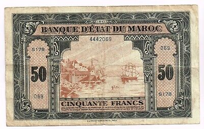 1943 MOROCCO 50 FRANCS NOTE - p26