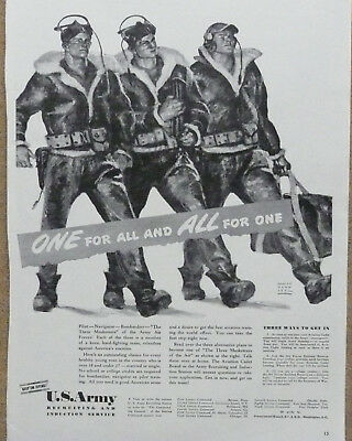 U.S. Army Air Force Recruitment Ad WWII Print Ad 1942