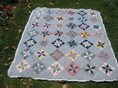 """Antique 8-Pt Puritan Star Eastern Star Quilt By Hand 74""""x86"""" Cutter or Not"""