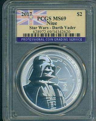 2017 DARTH VADER $2 NIUE STAR WARS DARK SIDE 1 Oz. Silver PCGS MS69 BEAUTIFUL !