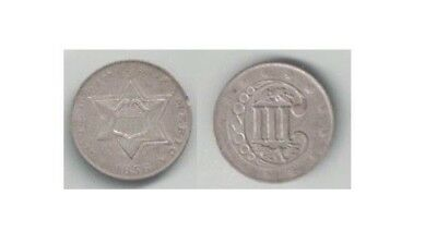 1856 Silver 3-cent Piece in Very Fine to Extra Fine Condition ~
