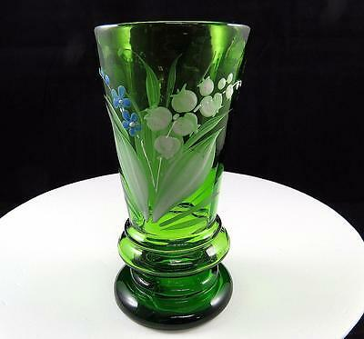 "Mary Gregory Art Glass Bohemian Czech Green Enamel Floral 5 3/8"" Tumbler Vase"