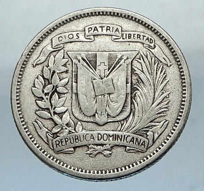 1951 DOMINICAN Republic Authentic SILVER 25 Centavos Coin w INDIAN WOMAN i66875