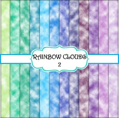 RAINBOW CLOUDS 2 SCRAPBOOK PAPER - 12 x A4 pages