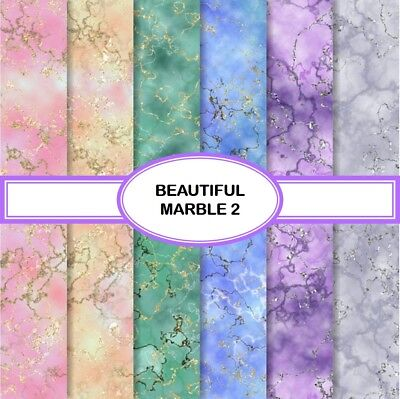 BEAUTIFUL MARBLE 2 SCRAPBOOK PAPER - 12 x A4 pages