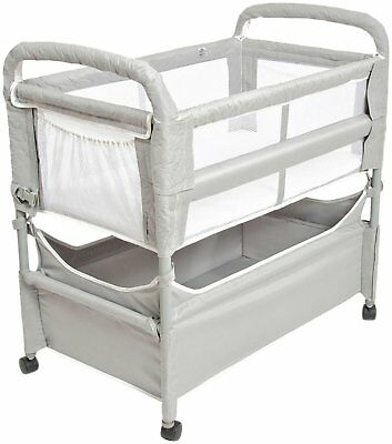 Arm's Reach Clear-Vue Baby Co-Sleeper Bedside Bassinet Grey NEW