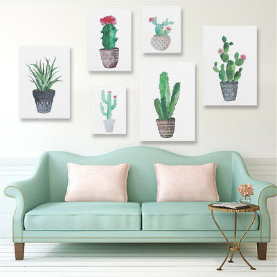 Watercolor Canvas Cactus Painting Print Picture Modern Home Wall Art Decoration