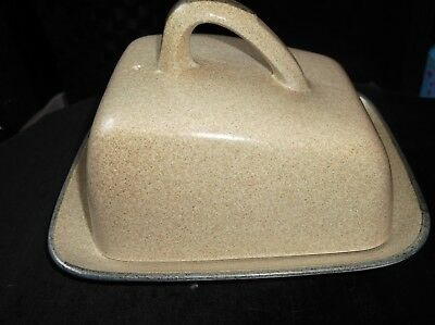 Collectable Beige Speckled Honiton Pottery Devon Cheese Dish Plate & Lid