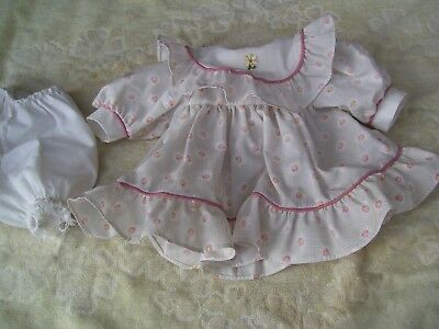 Alte Puppenkleidung Flower Dress Outfit vintage Doll clothes 40 cm Girl