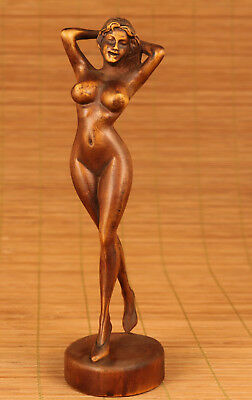 Chinese Old Sexy Boxwood Hand Carved Belle Girl Statue Home Decoration Art