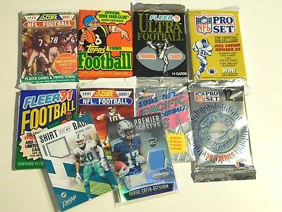 Vintage Football Pack Lot Of 8 With (2) Free Game Jersey Auto Cards Free Ship