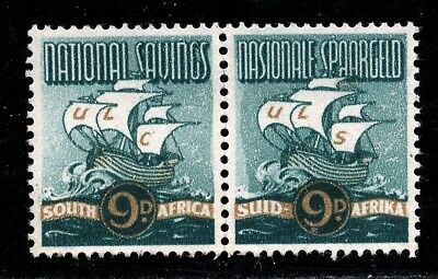 SOUTH AFRICA 1940 NATIONAL SAVINGS STAMPS 9d MINT PAIR - NO GUM.     A658