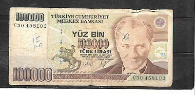 TURKEY #205a AG CIRCULATED 100000 LIRA BANKNOTE PAPER MONEY CURRENCY BILL NOTE