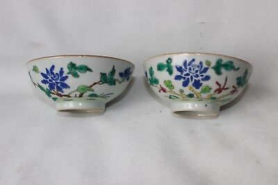 pair antique 19th century porcelain pottery Chinese bowls character text signed