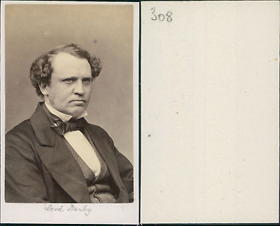 Lord Derby, Edward Henry Stanley, 15th Earl of Derby, Lord Stanley vintage CDV a