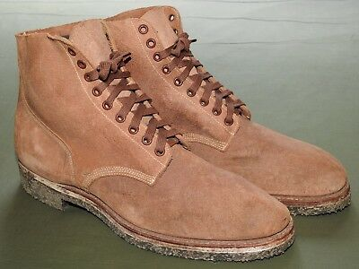 """US Navy WW2 CORPSMAN SEABEES """"BOONDOCKERS"""" ROUGHOUT LEATHER COMBAT BOOTS '43 Vtg"""