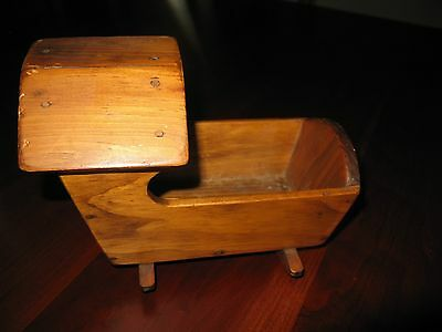 Vintage 1976 Miniature Hand Made 19thc Style Hooded Wood Rocking Doll Cradle
