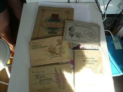 set of 5 cigarette card album collection cards john player and son ,  wills