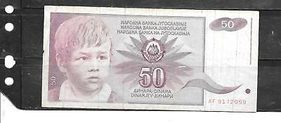 Yugoslavia #104 1990 Vg Used 50 Dinara Older Banknote Note Paper Money