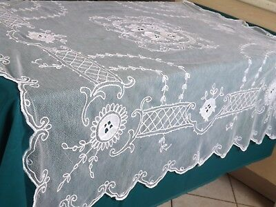 nappe tulle brodé, ancienne