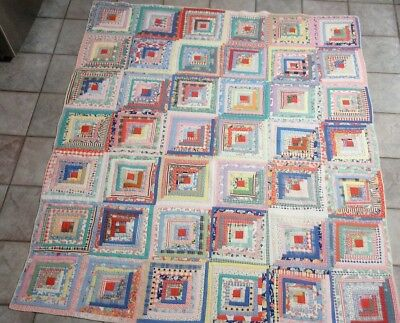 1900s Antique beauty Feedsack Log Cabin Vintage Quilt Rare Hand Sewn excellent!!