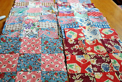 57 Vintage Quilt Blocks 9 Patch 12 Child Prints