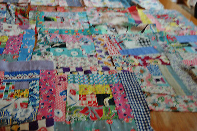 "57 Vintage Log Cabin Quilt Blocks  + 36"" x 52"" Hand Pieced Feed Sack Old Fabric"