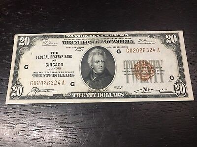 Series of 1929 $20 National Currency Note- Chicago, IL. Brown Seal - US Notes