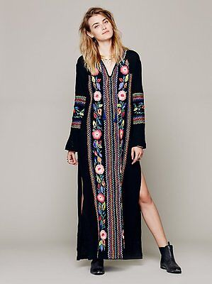 Hippie Mexican Ethnic Boho Women's Embroidered Long Flower Beach Maxi Dress Hot